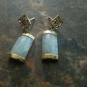Sterling silver gold Oriental Jade pierced earring